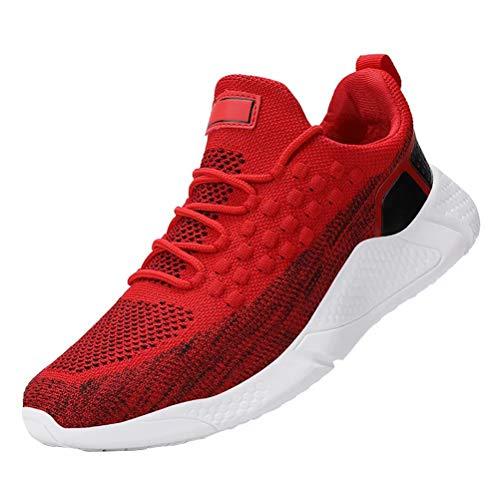 JIANYE Sportschuhe Herren Fitness Schuhe rutschfeste Laufschuhe Leichtgewichts Mode Turnschuhe Atmungsaktiv Freizeitschuhe Rote Schwarz 46