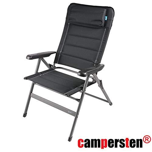 campersten Campingstuhl | 5-Fach verstellbare Rückenlehne |150kg Tragkraft | Kopfstütze | faltbar | klappbar | nur 5,5kg Eigengewicht