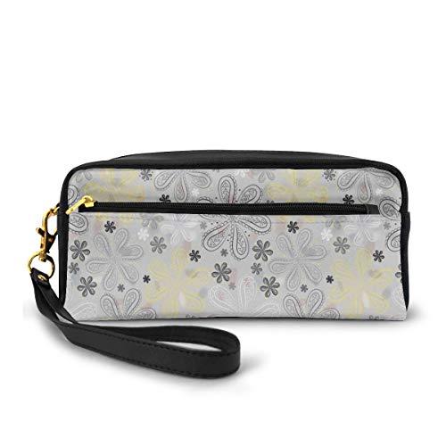 Pencil Case Pen Bag Pouch Stationary,Ethnic Bohem Style Paisley Print Flowers Dots Art Image,Small Makeup Bag Coin Purse