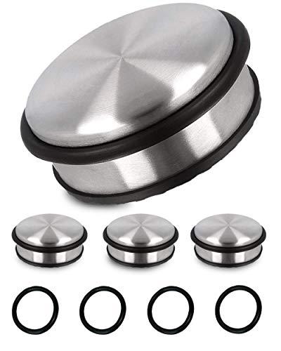 Praknu Türstopper Edelstahl für Boden 4er Set mit 4 Ersatz Ringen - Flach - 1,1kg Schwer - Massiv