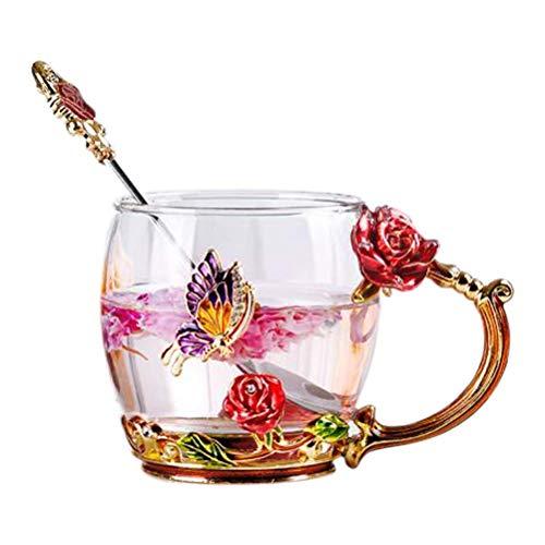 Lawei Emaile Glasbecher Handgefertig Glas Kaffeetasse Blumen Schmetterling Rose mit Löffel für Tee Latte Getränke Milch - 320 ml
