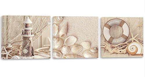 Feeby Frames, Leinwandbild, Bilder, Wand Bild - 3 Teile - Panoramabild, Wandbilder, Kunstdruck 120x40 cm, Strand, Sand, Muscheln, Leuchtturm, BRAUN
