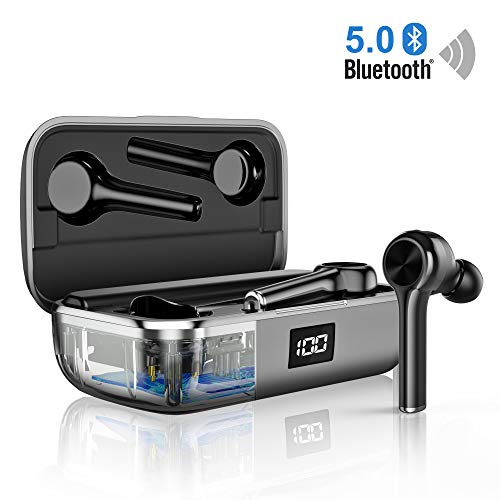 Auriculares inalámbricos Bluetooth 5.0, Reducción de Ruido en Llamadas CVC8.0 y Micrófono HD Autonomía 40 Horas Control Táctil Auriculares Deportivos Blancos compatibles con TV, Smartphone, Tablets