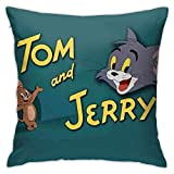 nxnx Tom and Jerry - Juego de fundas de almohada decorativas de 45,7 x 45,7 cm, forma cuadrada, para sofá, sofá, juego de almohada