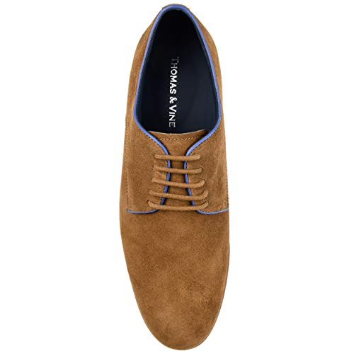 Thomas & Vine Mens Gunner Genuine Suede Plain Toe Derby Brown, 12 Regular US