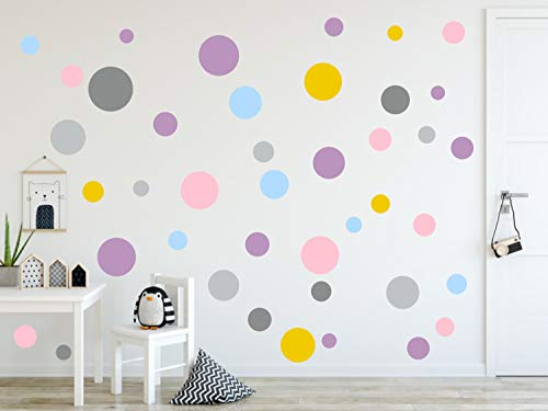 timalo® 73078 -Pegatinas murales, en diseño de puntos circulares, ideales para decorar una habitación infantil, en colores pastel, 120 unidades, Rosa