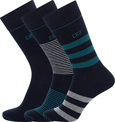 CR7 Herren 3-Pack Mens Socken, Black/Grey/Blue Stripe, 40-46