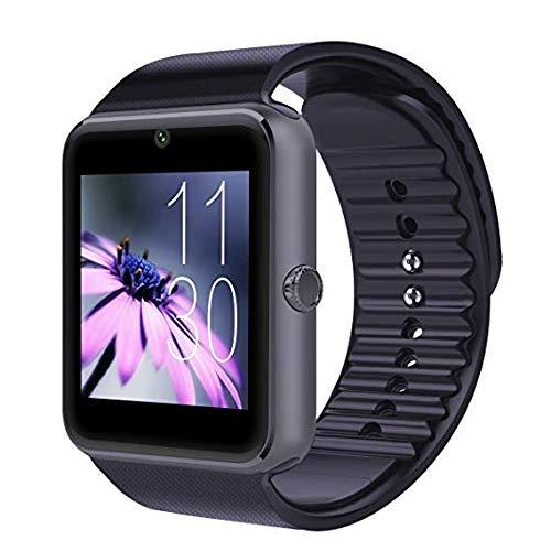Generisch PromoTech GT08 - Reloj inteligente deportivo con Bluetooth 3.0 + pantalla táctil de 1,54 pulgadas + cámara + tarjeta SIM GSM/GPRS para Android e iOS (negro)