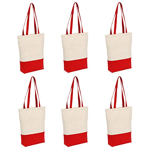 Heavy Duty 12 oz Cotton Canvas Tote Bag with Bottom Gusset Grocery Beach Shopping Bag 17x14x4 Inches - 6 Pack ?, Red - 6 Pack, 17144 inch