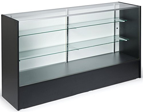 6-feet-Wide Free-Standing Glass Display Case with Height-Adjustable Shelves and Sliding Door -...