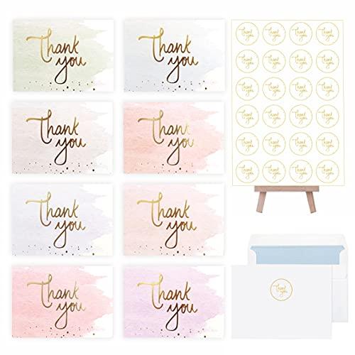 Tarjetas de agradecimiento (juego de 40) - Tarjetas de felicitación de acuarelas...
