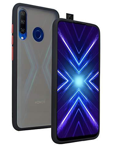 KANSI Funda para Honor 9X/Huawei P Smart Z + Cristal Templado, Soft Silicona TPU + Hard PC Hybrid Mate Durable Carcasa Capa Anti-Arañazos Robusta Case - Negro
