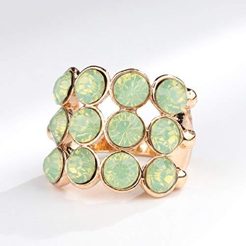 Anillo Mujer Verde Ópalo Inlaid Engagement Ring Joyería Vintage De Oro Exquisita Fiesta De Regalo del Día De La Madre De Rhinestone