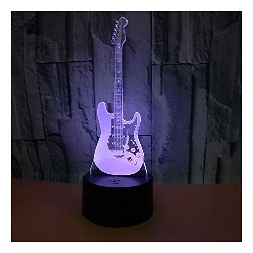 Bunte Elektrische Usb-Dekoration-Geburtstagsgruß-Tischlampe Der Optischen Täuschung Der Elektrischen Gitarre 3D Fernsteuerungsschalter Stimmungslichter