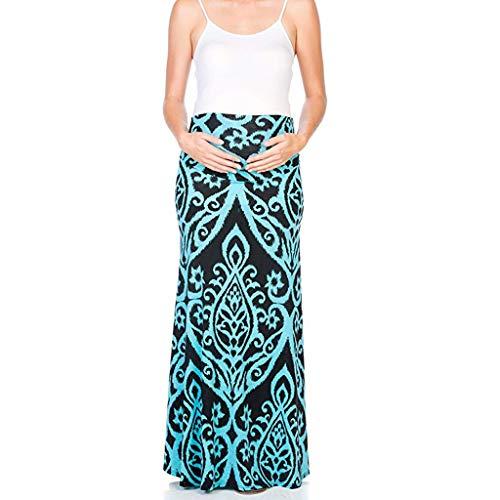 Zlolia – Falda para mujer embarazada con estampado floral, cintura alta, maxi falda de verano casual de…