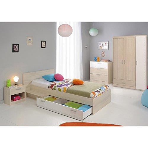Jugendmöbel24.de Kinderzimmer 4-teilig grau/weiß akazie inkl Kleiderschrank + Kinderbett inkl Bettkasten + Kommode + Nachtkommode