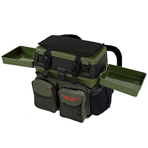 Sitzkiepe Angelbox Sitz- und Gerätekasten inklusive Vier Kunststoffboxen - Grün + 2 Futterwannen