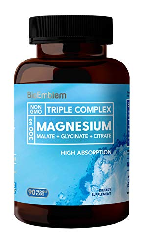 MAXIMUM ABSORPTION & POTENT MAGNESIUM SUPPLEMENT: BioEmblem Triple Magnesium Complex features 300mg of three types of pure magnesium (Glycinate, Malate, Citrate). Each is chelate or highly absorbable for maximum bioavailability. Our formula is easy o...