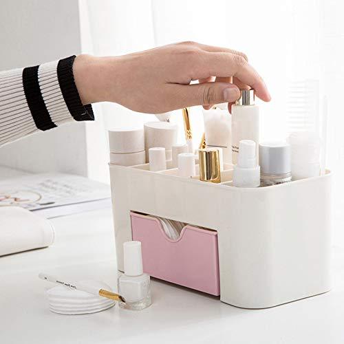 xinlianxin Caja de almacenamiento de brochas de escritorio con cajón para maquillaje, bolígrafos, escritorio, organizadores de plástico (color: rosa)
