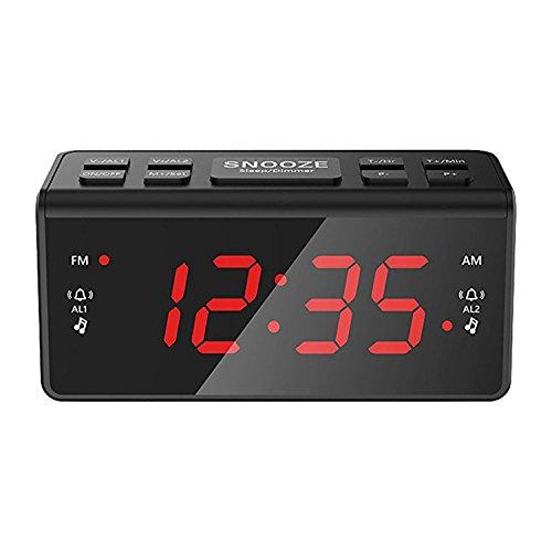 Kosee IC56- Radio sveglia digitale FM AM con le funzionalità luce notturna, rinvio di suoneria, doppio allarme, timer del sonno e regolazione della luminosità