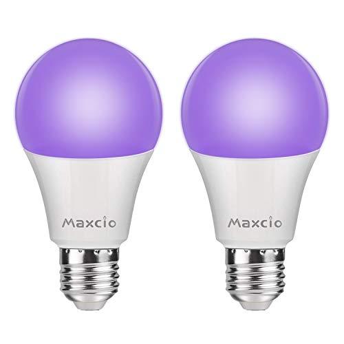 11W Schwarzlicht Glühbirne UV E27, Maxcio Schwarzlicht Glühlampe LED, UV Leuchtmittel, Black Light Bulb für Disco DJ Neon Party Keller Partyraum Club Bar Helloween, - 2 Packs