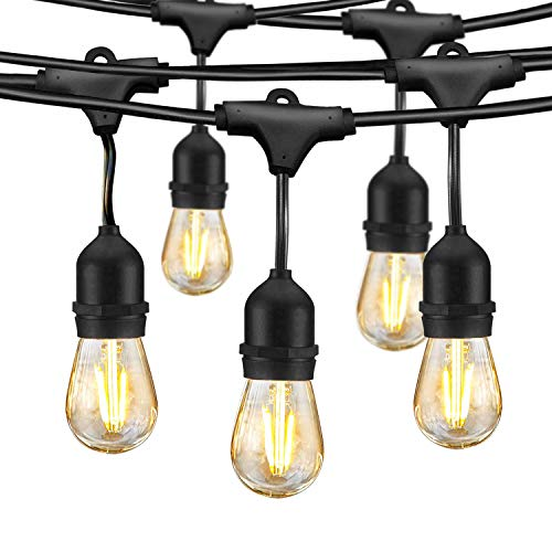 LED Outdoor String Lights - Edison Bulb String Lights, 49ft Commercial Waterproof Dimmable String Lights for Patio, 15 Hanging Sockets, 16 x 1.5W Vintage Bulbs(1 Spare) for Backyard Porch Garden