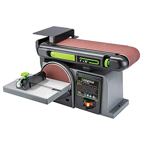 Genesis 43 Amp 4 in x 36 in Belt/6 in Disc Combination Sander with Cast Iron Base and Miter Gauge GBDS430