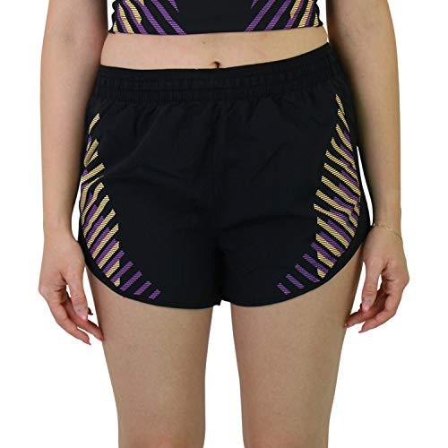 NIKE Tempo LX Runway Shorts Pantalones Cortos para Mujer, Negro y Plateado, Large