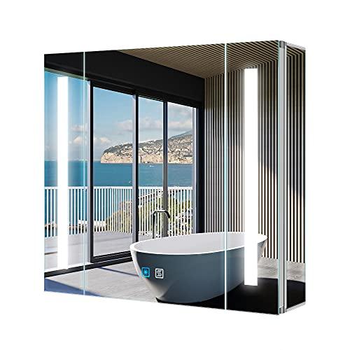 Tokvon® Alameda 65x60cm Spiegelschrank LED Badezimmer Spiegelschrank mit Beleuchtung Wandschrank Licht Aluminium Beschlagfrei Rasier Steckdose Touch