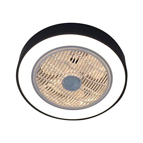 Ventilador de techo OUKANING con iluminación, ventilador de techo LED, velocidad del viento, regulable, con mando a distancia para dormitorio, salón, comedor, color negro