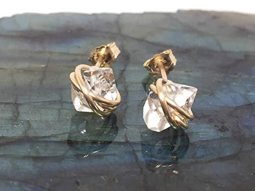 Herkimer Diamond Quartz Crystal, Medium Size, Stud Earrings, 14k Gold Filled, Herkimer Earrings, Gift For Her, April Birthstone