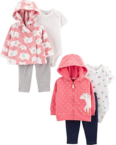 Carter s baby girls 2 pack 3 piece Set Cardigan Sweater Pink Unicorn Blue Bunny 6 Months US product image