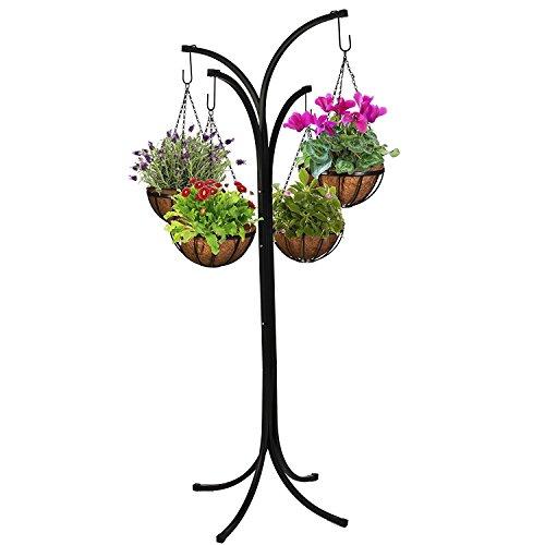 savingworld 4 Arm Tree Cascade Hanging Basket Patio Stand Garden Plant Patio Planter New