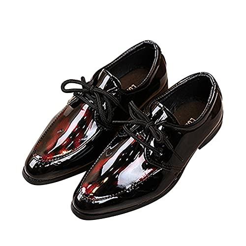 Dinnesis Zapatos de bebé para niños pequeños, estilo británico, informales, de piel, para bodas, con traje, antideslizantes, color negro, rojo, 27 EU