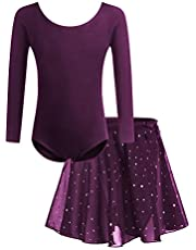 Bricnat Flicka balettkläder balettklänning barn danskropp kortärmad långa ärmar balletrikot dansklänning i bomull med chiffong kjol tyr
