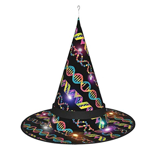rouxf Sombrero de Bruja de Halloween para Mujer, Gorro Colorido de Ciencia de ADN para Fiesta, Disfraz de Cosplay, Accesorio Diario