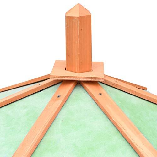 yorten Holz-Hühnerstall mit Dach und 2 Fenstern Winterfest Hühnerhaus aus Kiefernholz mit Rampe Braun und Grün 126 x 117 x 125 cm (L x T x H)