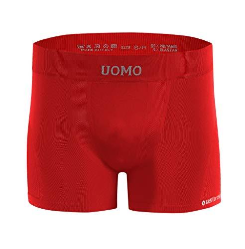 Sesto Senso Herren Nahtlose Boxershorts Komfortable Retroshorts Basic Unterhose Unterwäsche für Männer Uomo L/XL Rot