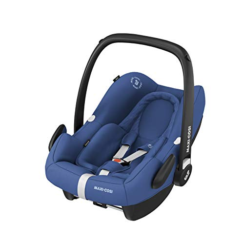 Maxi-Cosi Rock i-Size Silla Auto Grupo 0+, portabebé aprobado para viajar en avion, silla coche bebé recién nacido hasta 12 meses, color essential blue