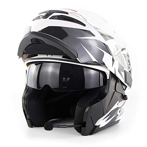 AA100 Motorrad drahtlose Übertragung Vollvisierhelm/Erwachsener Rennen Straßenrennen Motorradhelm Cromwell Helm Jet Doppelspiegel modular Flip Helm (S, M, L, XL, XXL),XXL