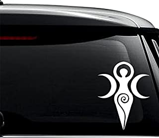 Goddess Wiccan Symbol Decal Sticker For Use On Laptop, Helmet, Car, Truck, Motorcycle, Windows, Bumper, Wall, and Decor Size- [8 inch] / [20 cm] Tall / Color- Gloss White