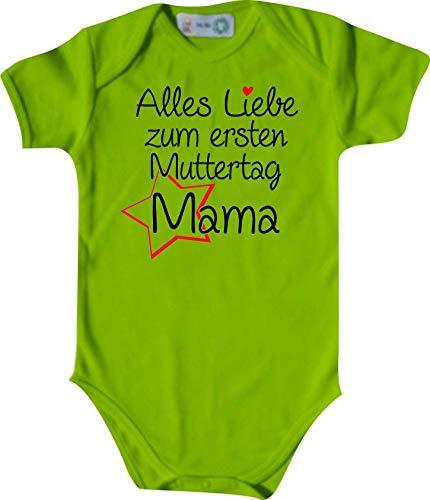Shirtinstyle Body Todo Amor para Primeros Día de la Madre Mamá, Manga Corta Body de Bebé, Bebé, Nacimiento, Bautizo, Pelele - Lima, 74-80