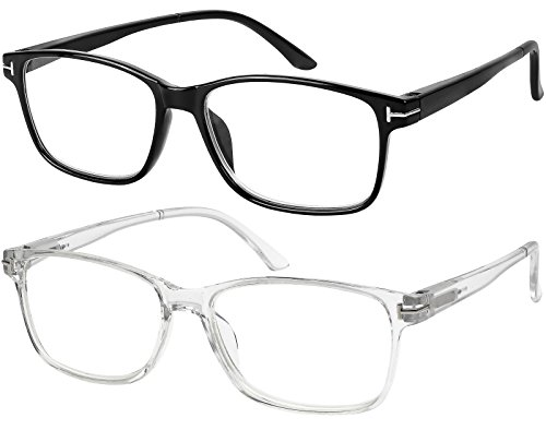 Computer Glasses 2 Pairs Anti Glare Classic Reading Glasses Quality Comfort Glasses for Men and Women +1.5