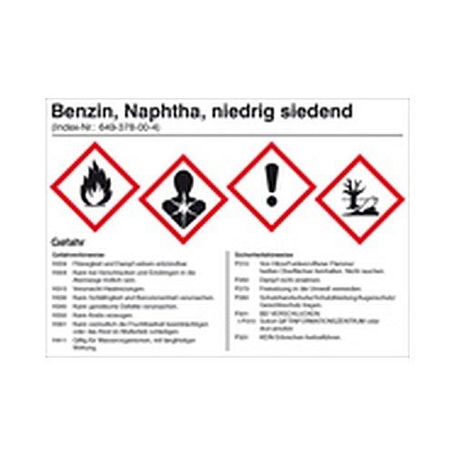 Aufkleber Benzin für Behälter mit einem Fassungsvermögen bis 50 Liter Gefahrstoffaufkleber Größe: 14,8 x 10,5cm Folie