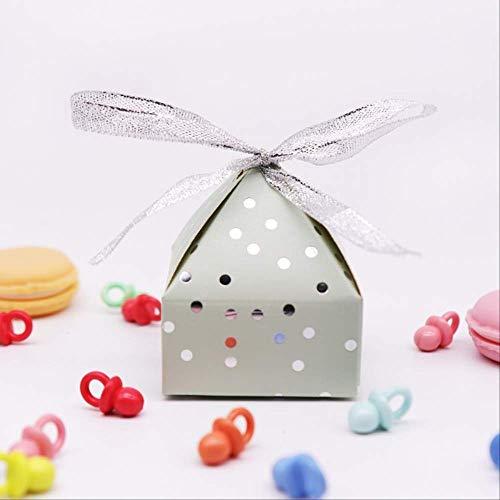 Geschenkdoos BLTLYX 50st Creatieve Piramide Bronzing Candy Box Bedankdoosjes Geschenkdoos Feestartikelen Babyshower Verjaardag Gunsten Gift 7.5 * 6cm Blauw