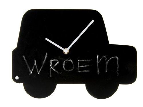 Karlsson wandklok auto krijtbord zwart wit inclusief krijt en batterij kinderkamer