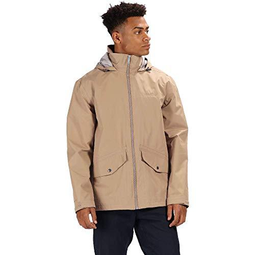 Regatta Hartigan - Chaqueta impermeable con capucha para hombre, Hombre, Chaqueta, RMW300, Camel Oscuro, XL