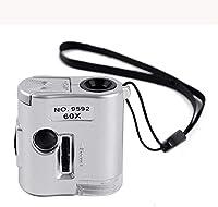 工芸品修理拡大鏡を読むためのLEDライト100を備えたハンドヘルド60倍の高倍率拡大鏡顕微鏡