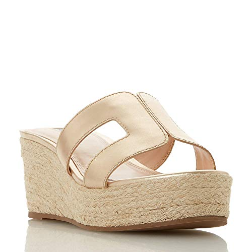 Dune Damen Kianni Plateau Sandalen, Gold (Gold-Leather Gold-Leather), 40 EU