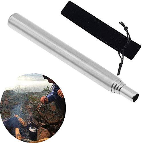 ふいご 火起こし 火吹き 焚き火 火吹き棒 キャンプ用 バーベキュー 暖炉 炭 薪 ステンレス 耐久性 伸縮性 コンパクト携帯 5段構成 収納袋付き